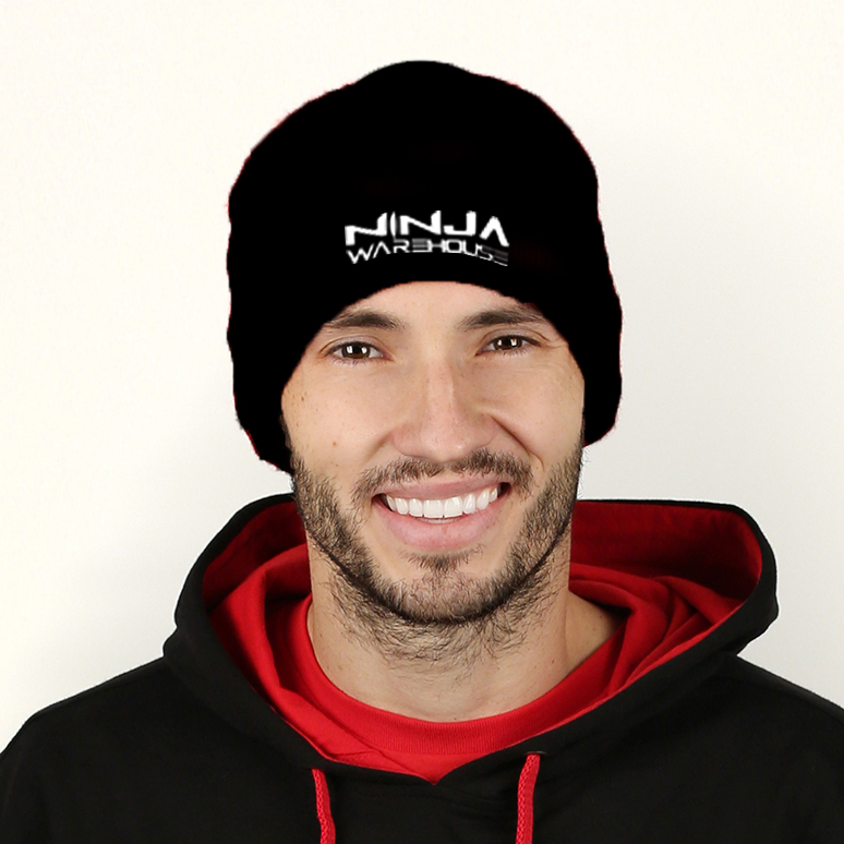 Beanies.  Black. ninja warehouse logo printed in white. one size fits most. (may not fit some of our mini ninjas) price: $10+tax