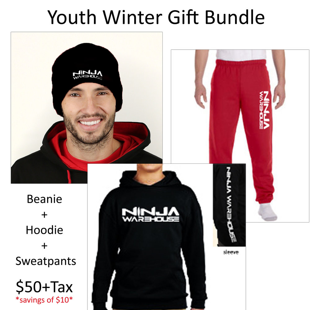 Youth winter gift set.  includes 1 beanie, 1 hoodie, and 1 pair of sweatpants for just $50. that's a $10 savings! (you pick the color of your hoodie - available in red, black or grey and pants - available in red or black. beanies are only available in black) *all winter bundle items will come with logos printed in white*
