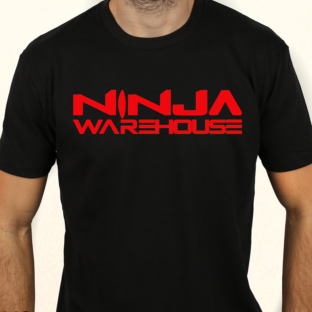 *NEW* youth/adult t-shirt.  Black. ninja warehouse logo printed on front in red. available in toddler, youth and adult sizes. youth sizes available: xs (4-5), S (6-7), M (8) L (10-12) adult sizes available: s, m, l  youth price: $15+tax  adult price: $15+tax