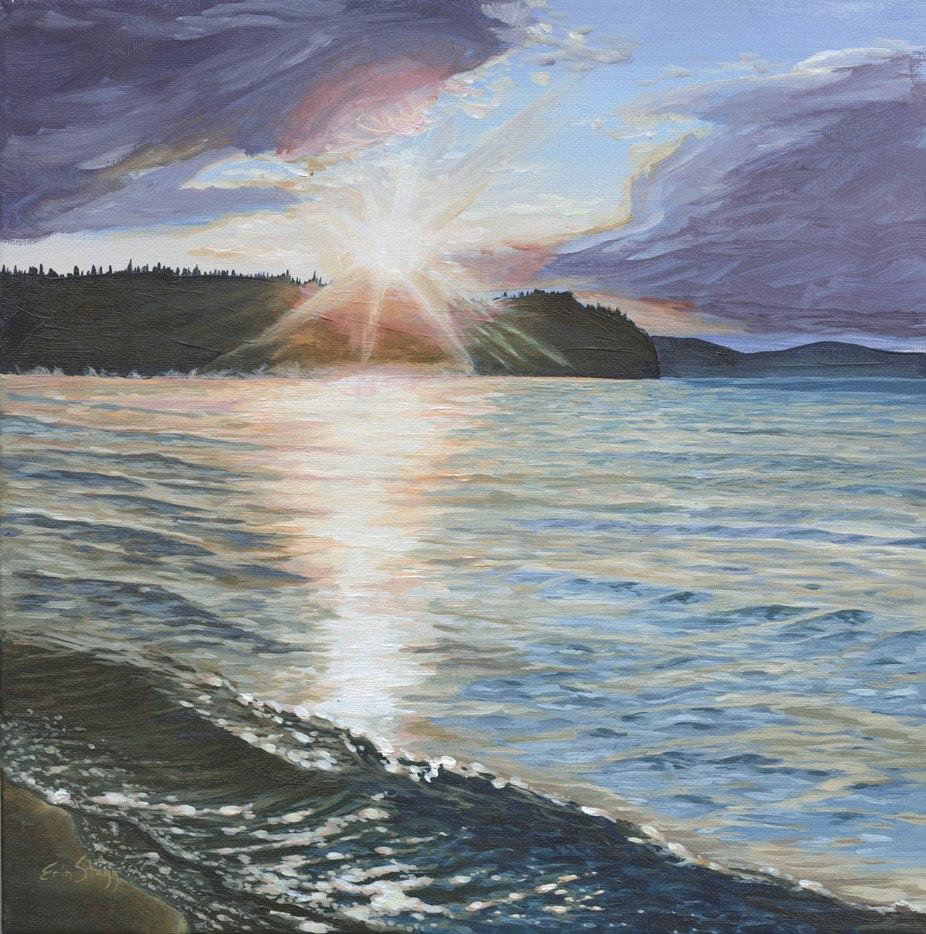 Stuart Lake Sunset, 2017, acrylic on canvas 12 x 12