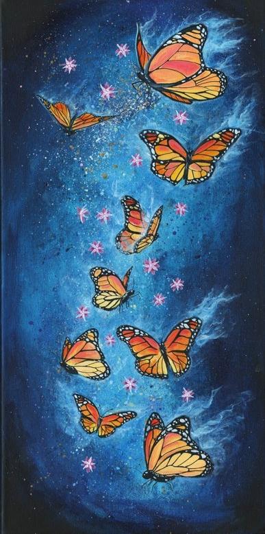 Cosmic Monarch, 2017, acrylic on canvas, 10 x 20