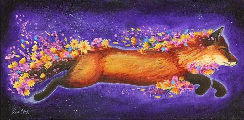Cosmic Fox, 2017, acrylic on canvas, 10 x 20