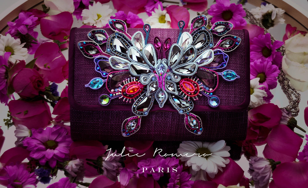 embroidered evening clutch by julie romero