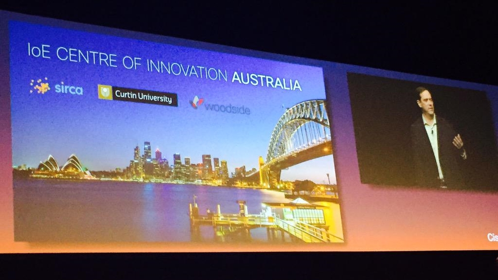Chuck Robbins announcing the Cisco Internet of Everything Innovation Centre at Cisco Live in Melbourne.
