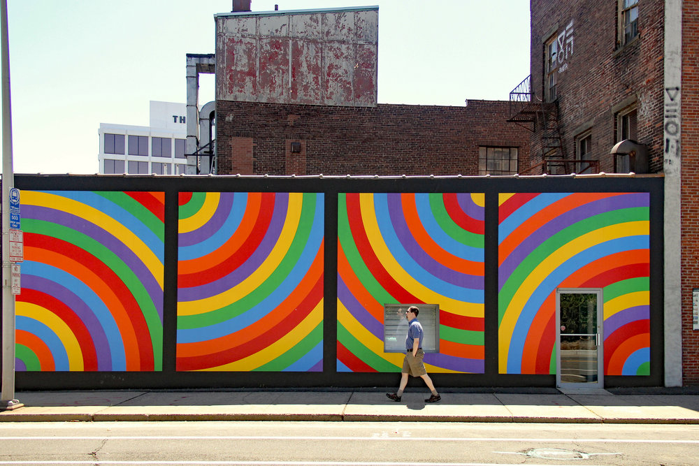 "Sol Lewitt's Wall Drawing #1105 ""Colored bands of arcs from four corners.""   Wall Drawing #1105 ""Colored bands of arcs from four corners"" Photo by Jack Keane"