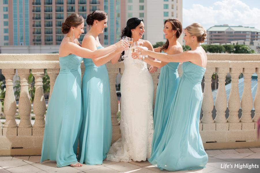 Bridesmaids looked gorgeous in soft aqua chiffon gowns
