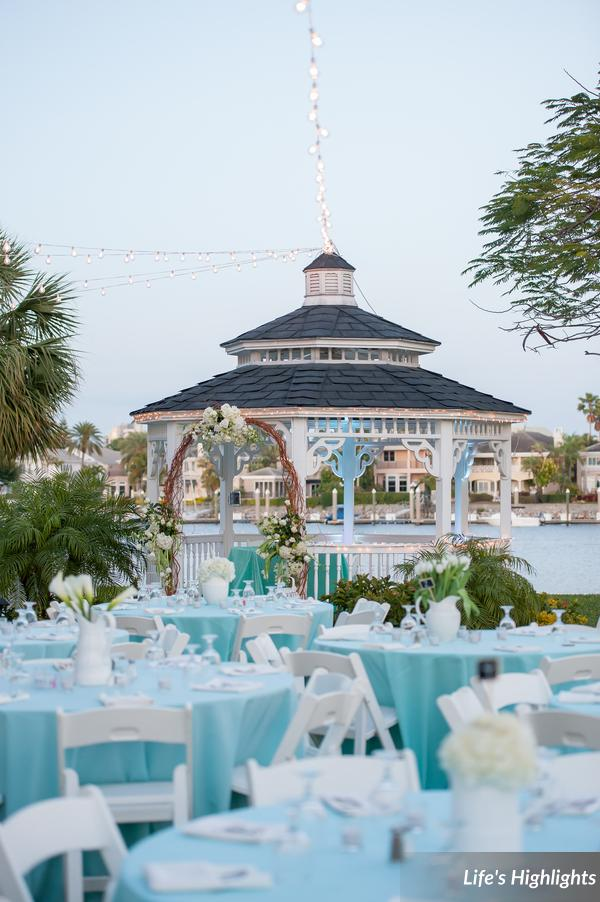 Reception tables on the lawn of the garden club featured aqua linens and crisp white accents