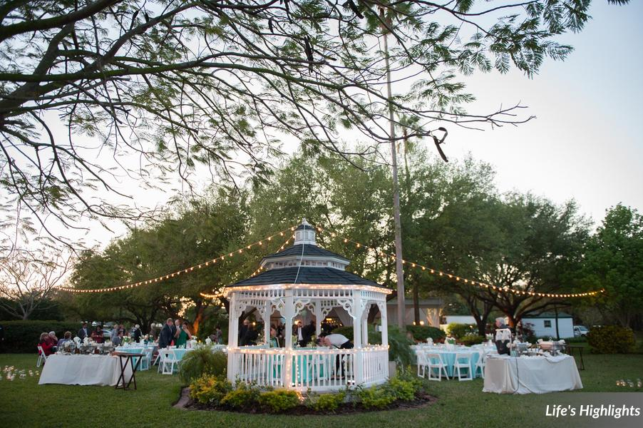 Guests dined under a canopy of bistro lights