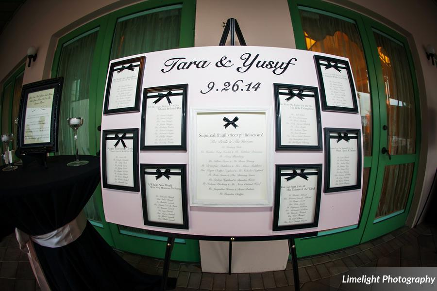 The seating chart consisted of frames adorned with ribbons, printed with guests' names and Disney song lyrics