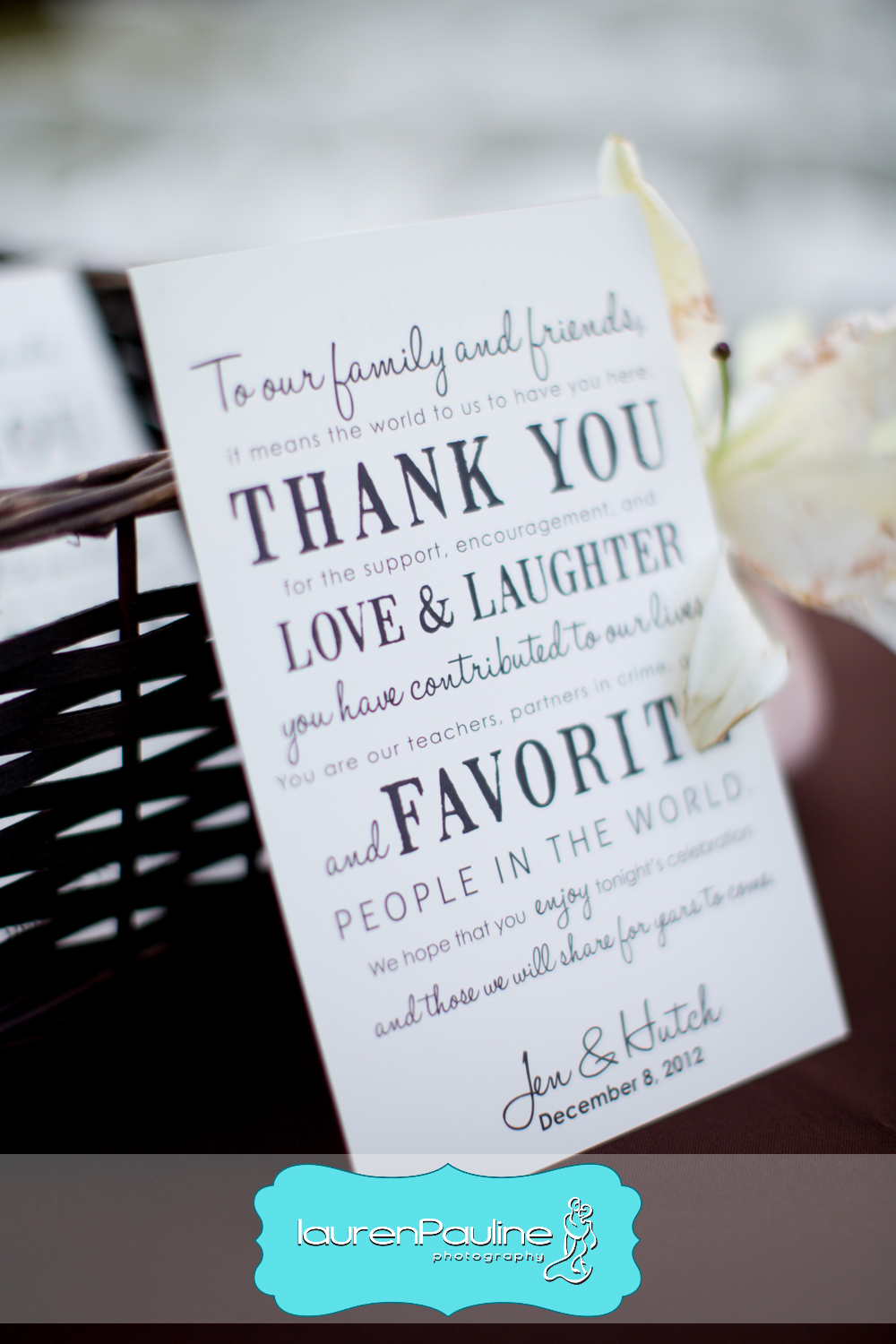 Guests received custom thank you notes from the couple