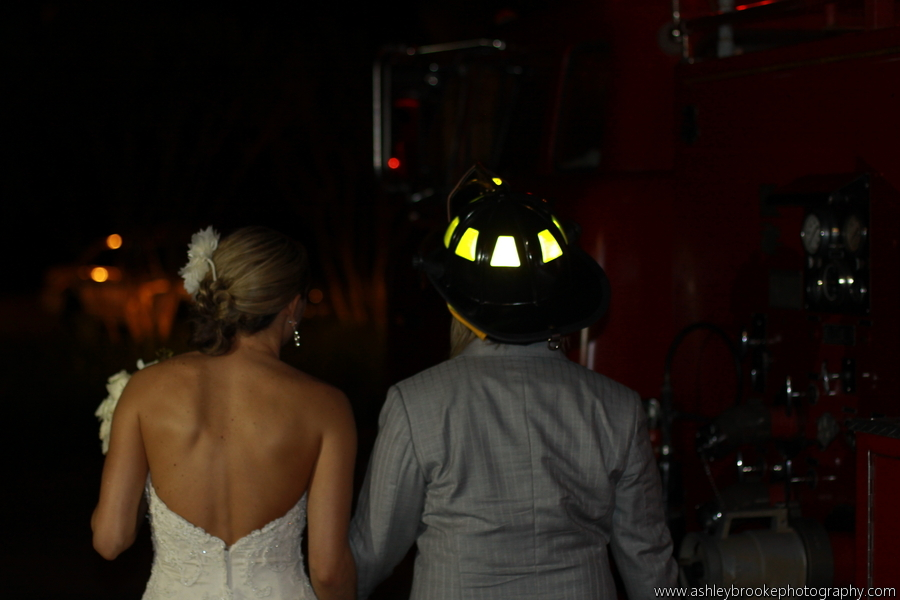 The couple enjoyed a surprise fire truck send off
