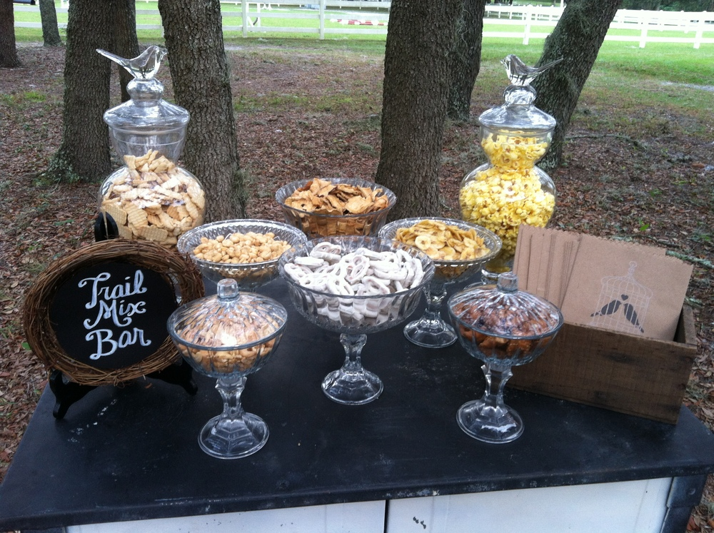 The trail mix bar (a favorite snack of the bride) featured nuts, pretzels, dried fruit, and popcorn.