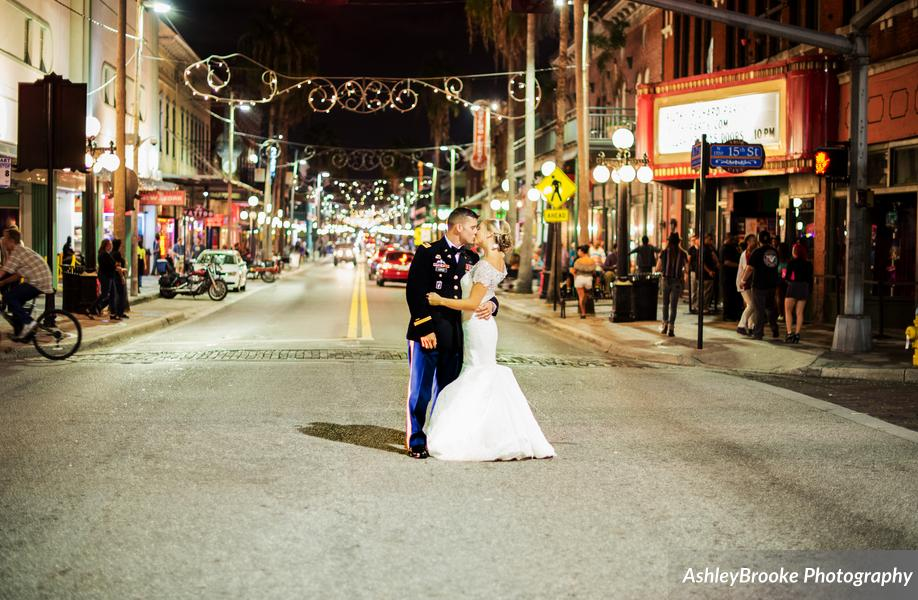 After a sparkler send-off, the couple posed for photos in the streets of historic Ybor City