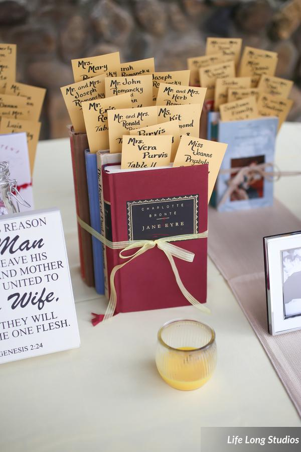 Bookmark favors featured the guests' names and table assignments tucked into favorite novels