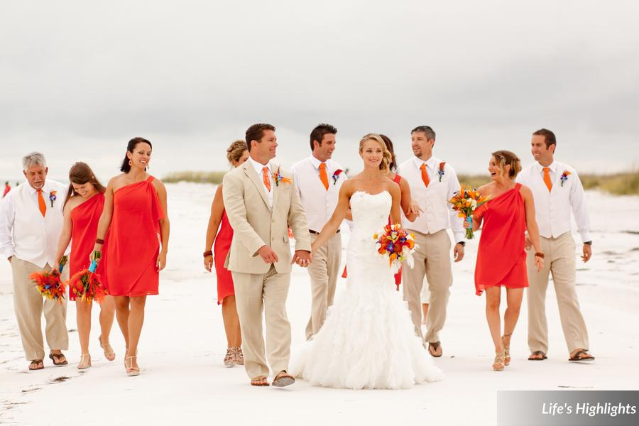 Bridesmaids wore persimmon chiffon dressed and gentlemen sported khakis and brightly colored ties