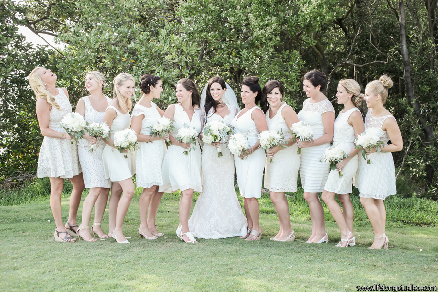 Bridesmaids wore neutral dresses and carried bouquets of fluffy hydrangea and seeded eucaplyptus