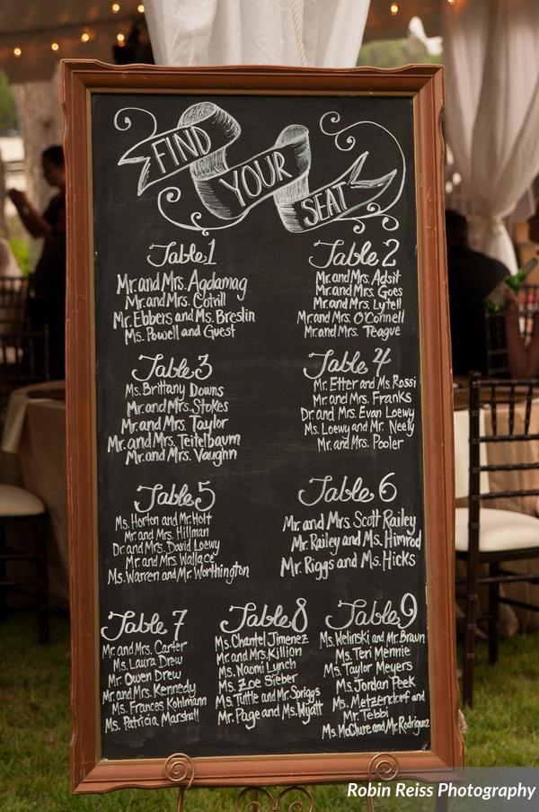 A decorative chalkboard seating chart directed guests to their tables