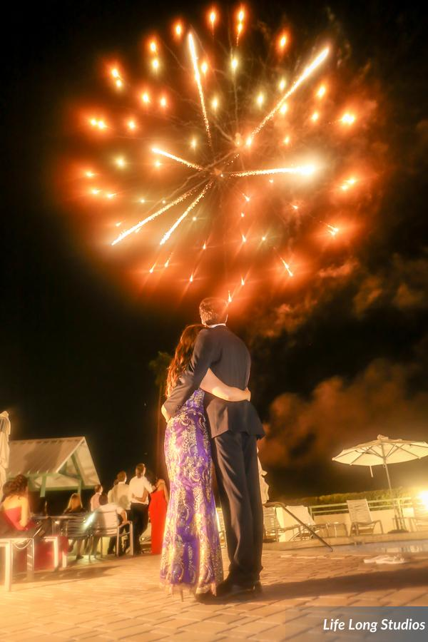 At the end of the reception, guests enjoyed a spectacular poolside fireworks display!