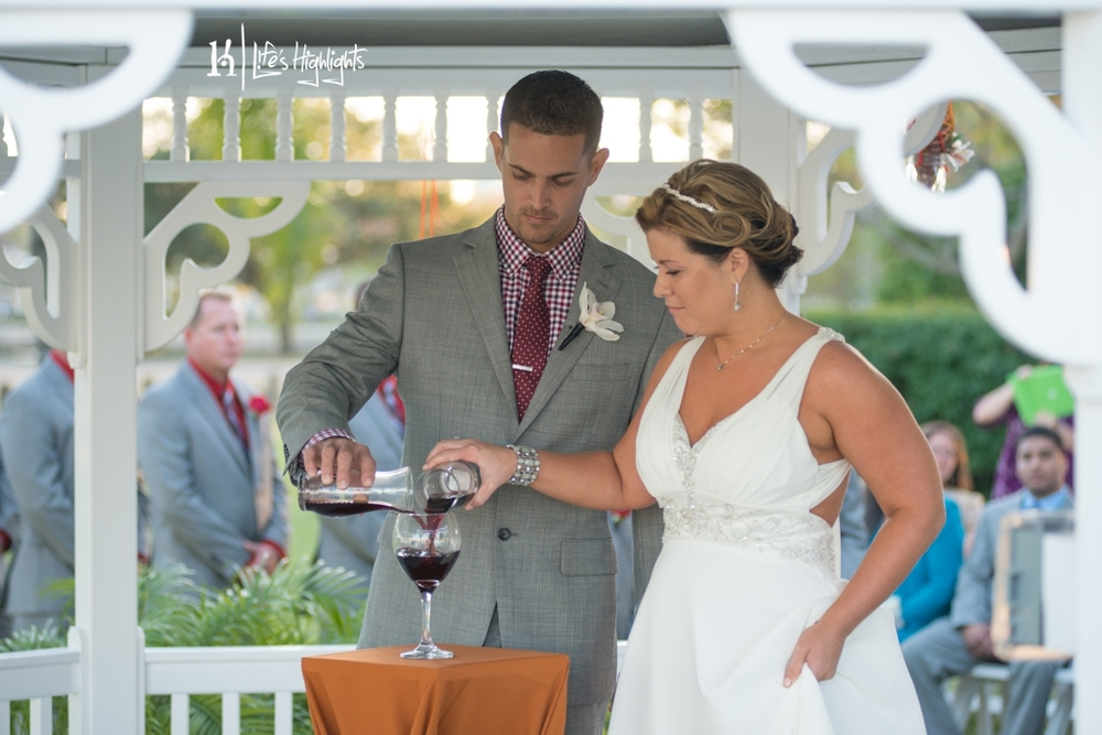 The couple combined two carafes of wine and shared a sip as a unique unity ceremony