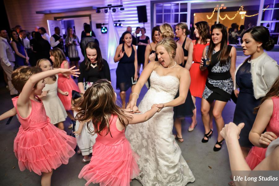 Guests danced and partied on the outdoor veranda