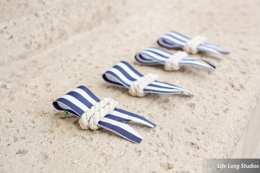 These DIY ribbon and rope boutonnieres were a perfect nautical alternative to traditional flowers