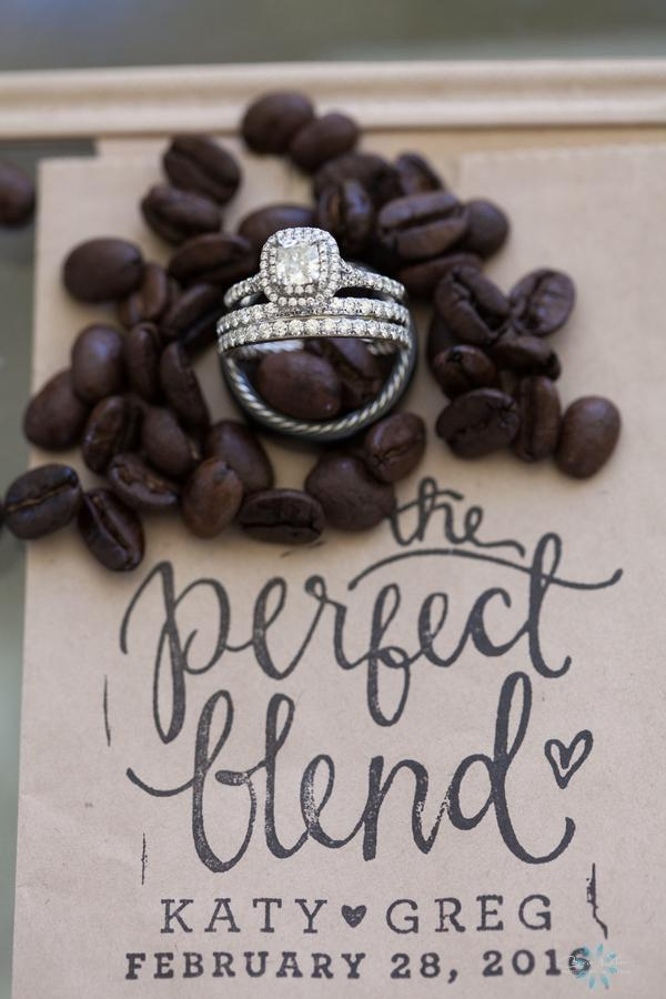 Guests took home bags of specialty coffee beans as favors from the bride and groom