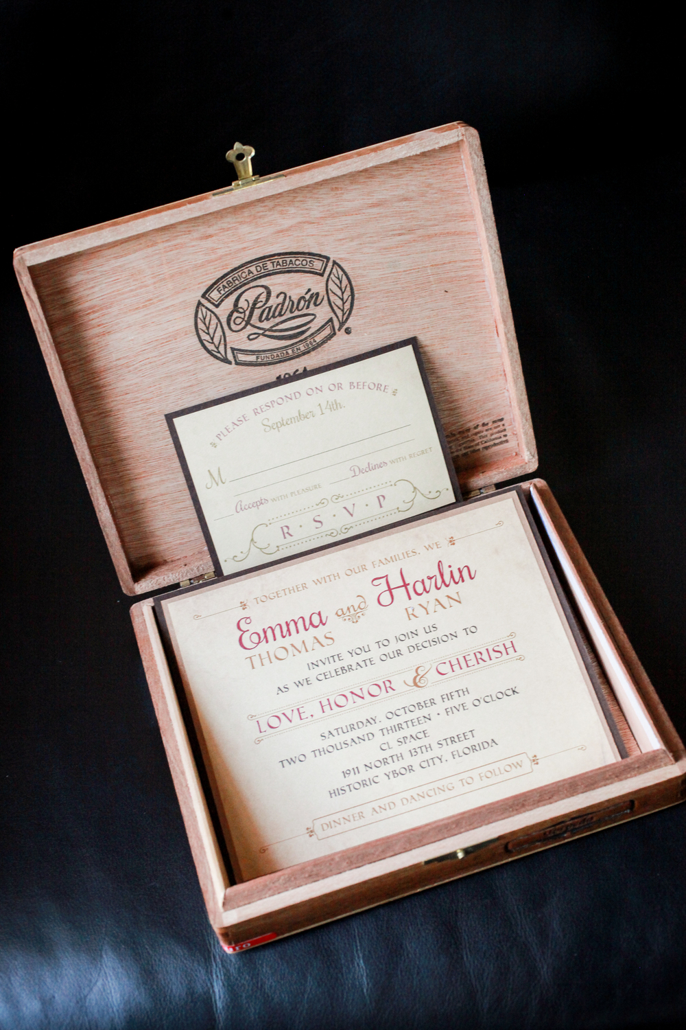 winsor event studio cigar box invitation