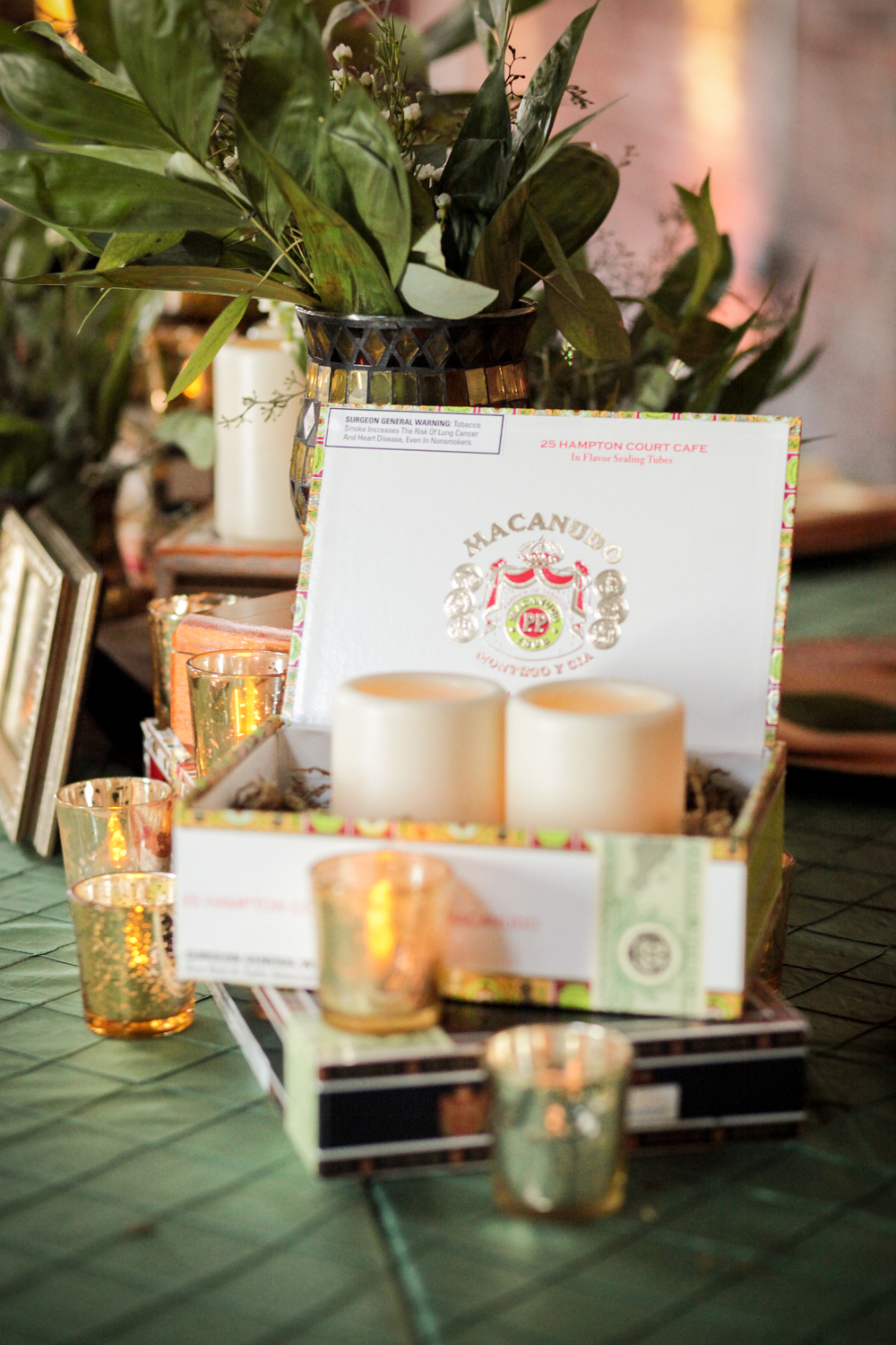 winsor event studio cigar box centerpiece