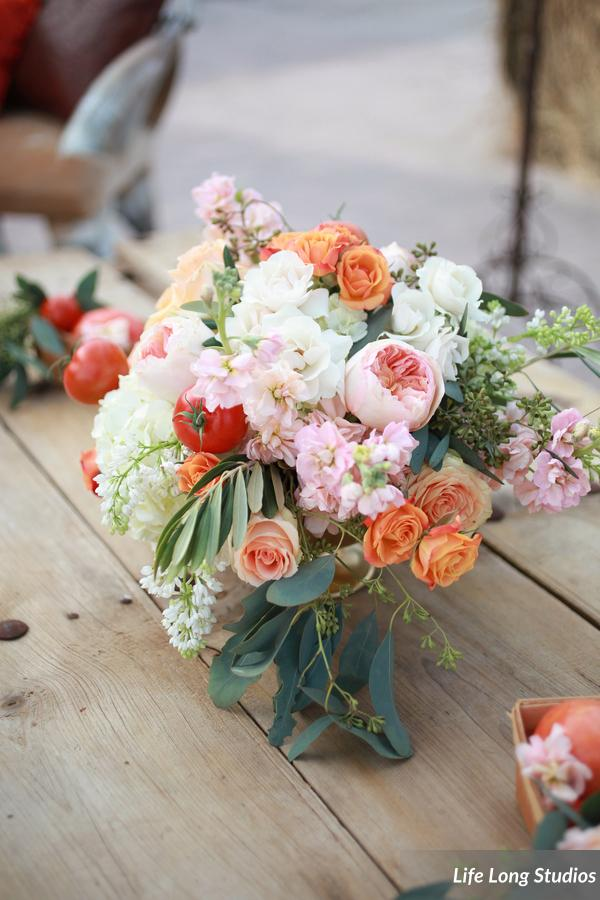 winsor event studio tomato floral arrangement