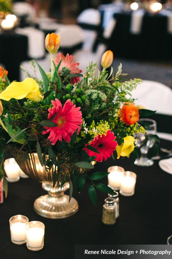 winsor event studio colorful centerpiece