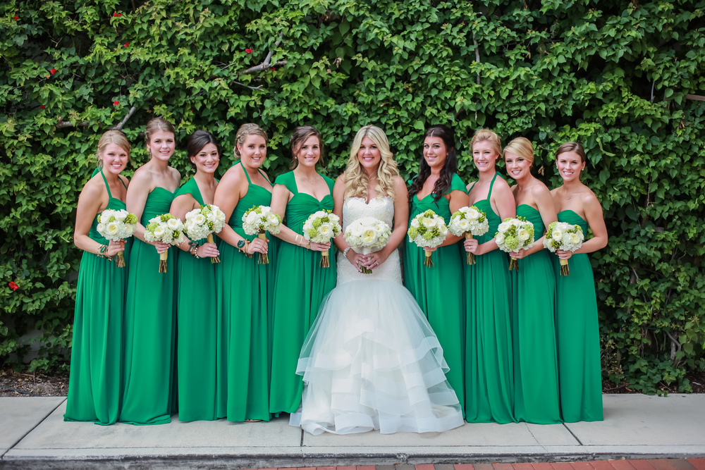winsor event studio emerald green wedding bridesmaid dresses