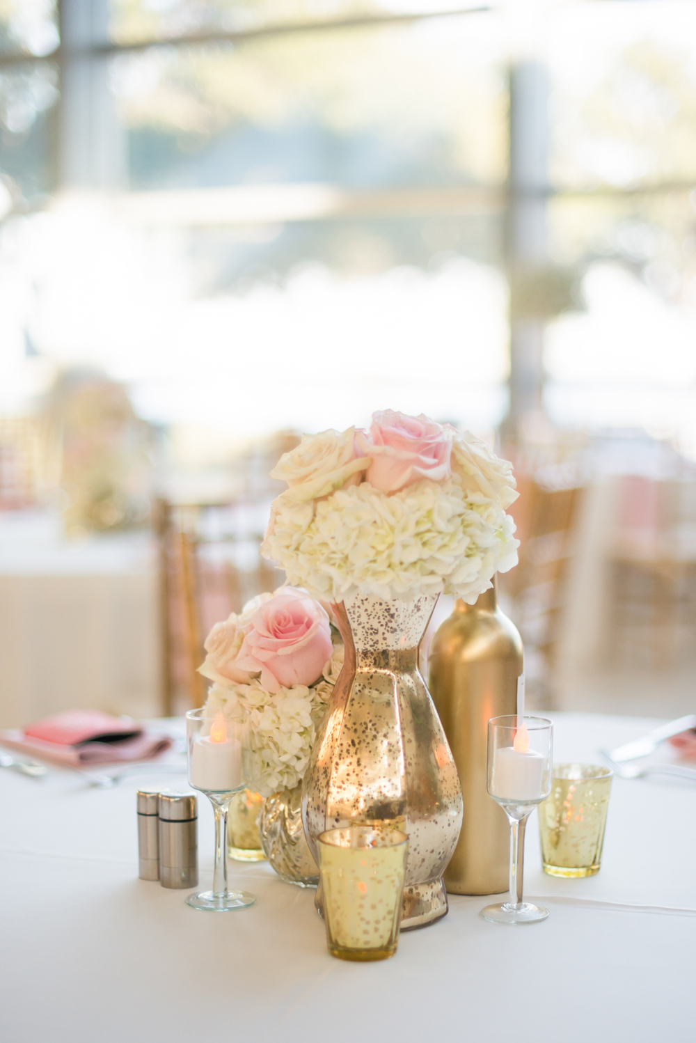 winsor event studio gold blush centerpiece wedding