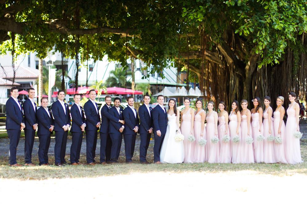 winsor event studio wedding party blush bridesmaids black suits