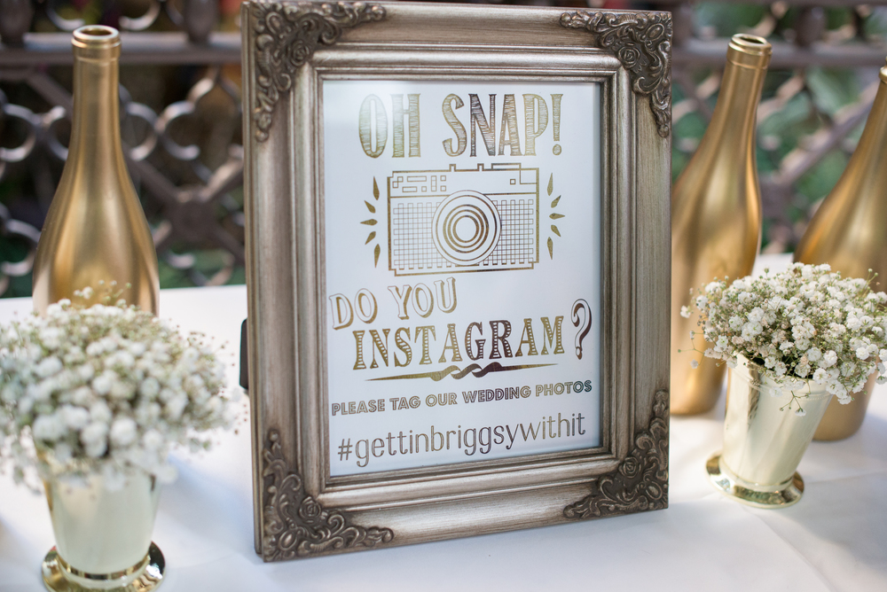 winsor event studio instagram hashtag wedding sign frame