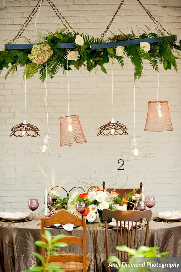 winsor event studio industrial chic wedding edison bulb lighting installment suspended