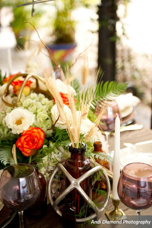winsor event studio industrial chic brew wedding centerpiece