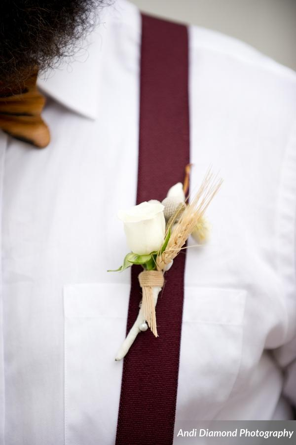 winsor event studio cotton wheat beer brew boutonniere wedding