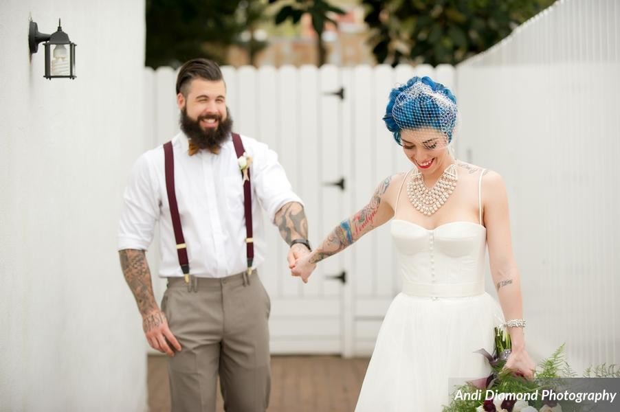 winsor event studio alternative rock roll tattoo hipster bride groom wedding