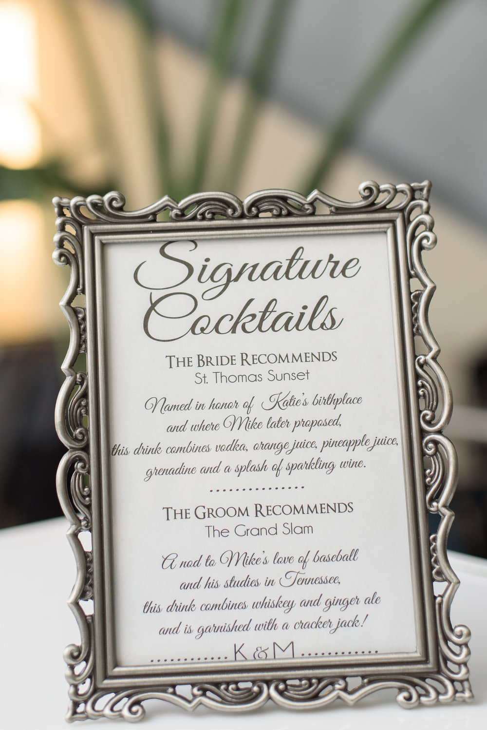 winsor event studio wedding bar sign menu signature drink
