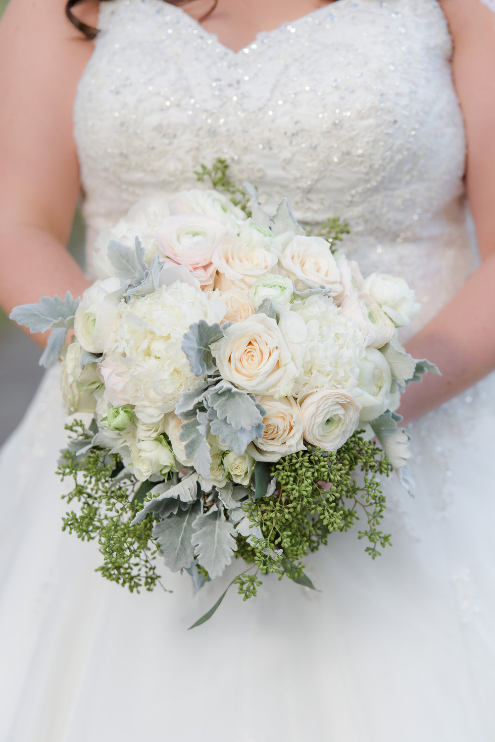 winsor event studio ivory silver bouquet