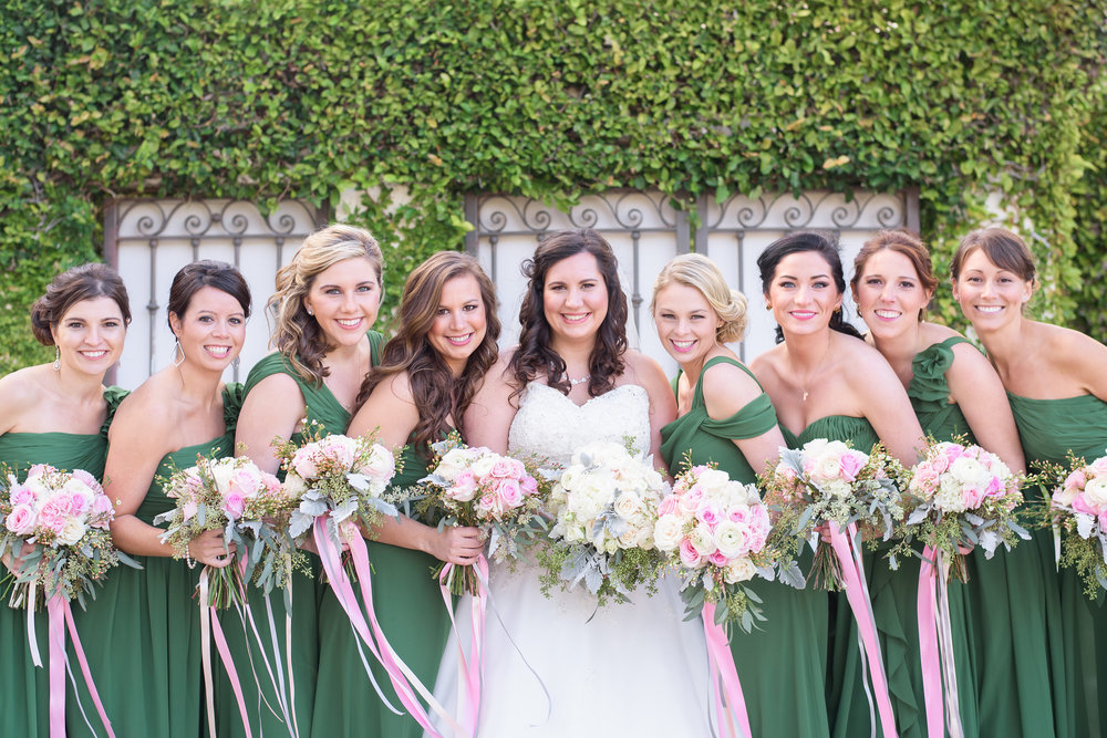 winsor event studio emerald green bridesmaid dresses pink blush