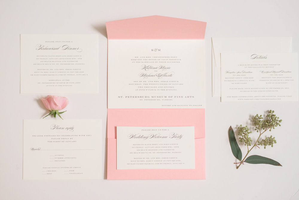 winsor event studio pocket invitation blush