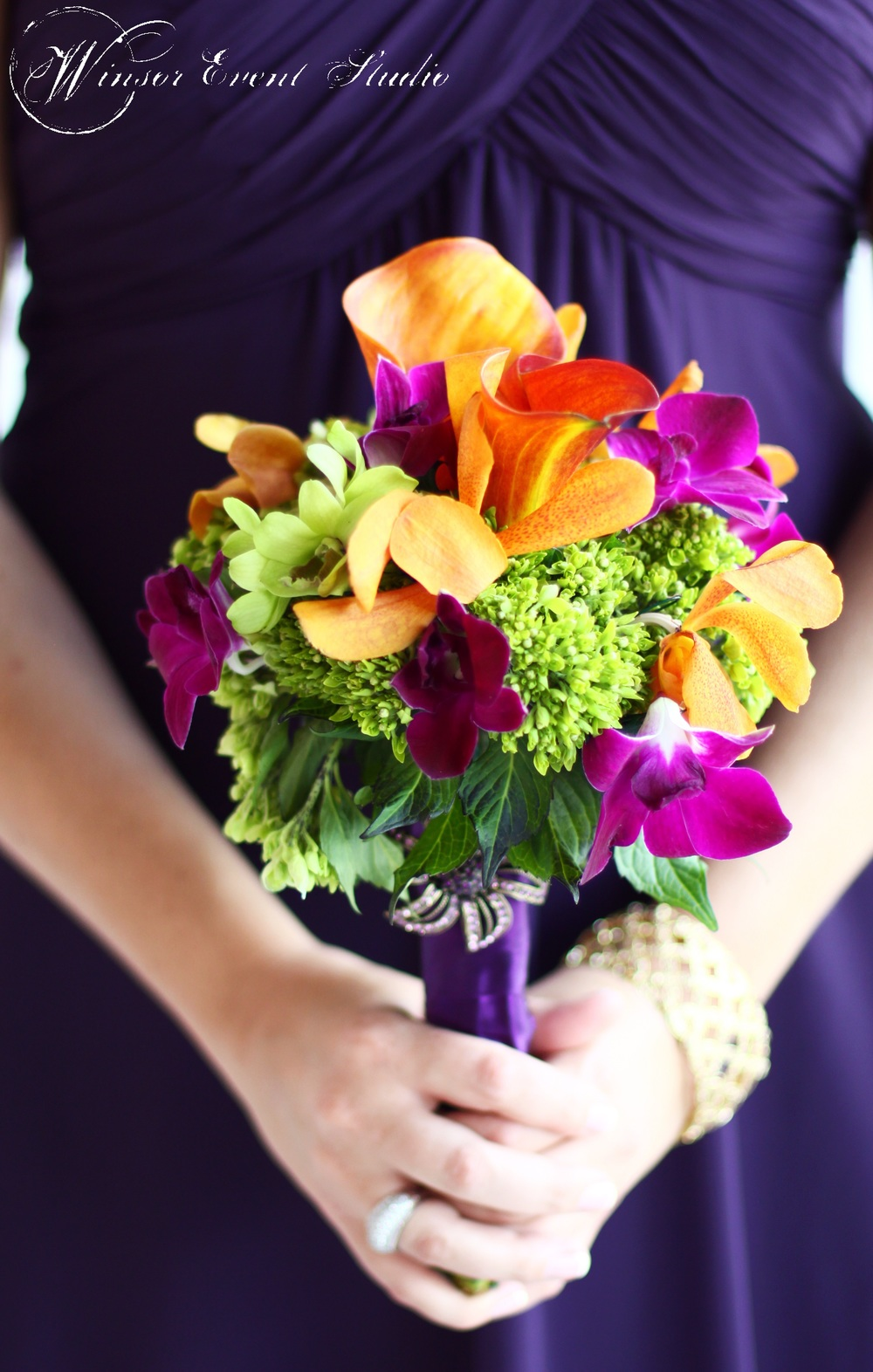 winsor event studio colorful bouquet orchid