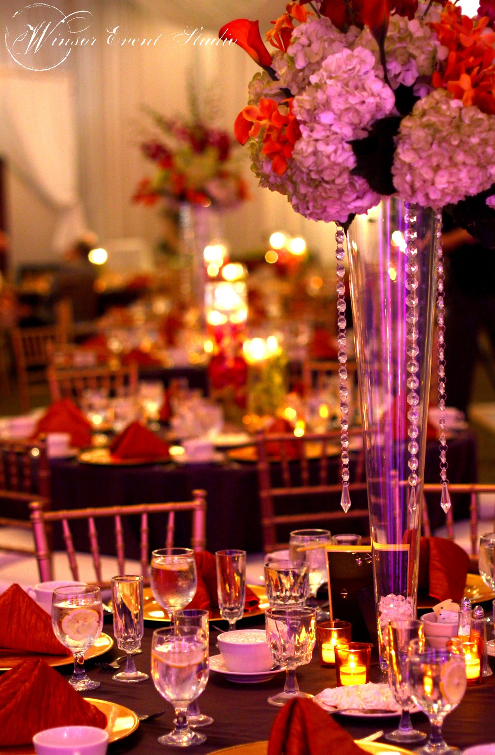 winsor event studio tall centerpiece orchid wedding