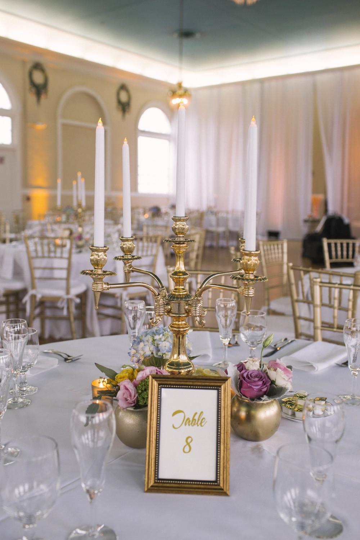winsor event studio candleabra centerpiece wedding gold
