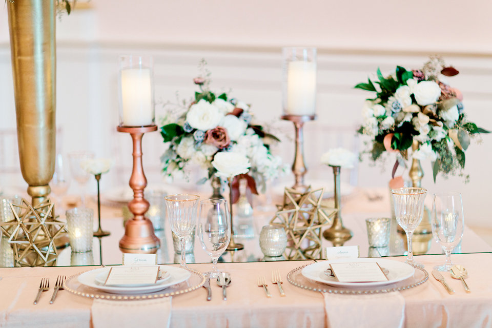 winsor event studio metallic centerpiece wedding