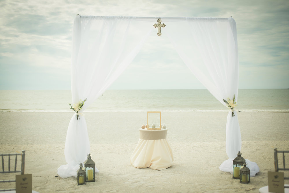 winsor event studio draping arch beach