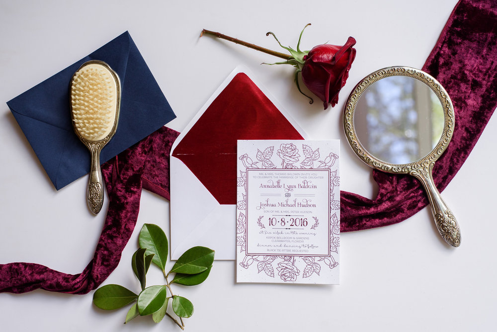 This custom stationery set featured a hand illustrated rose border