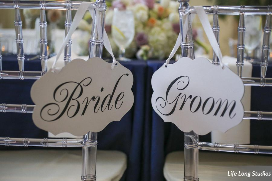 The sweetheart chairs were decorated with Bride and Groom signs