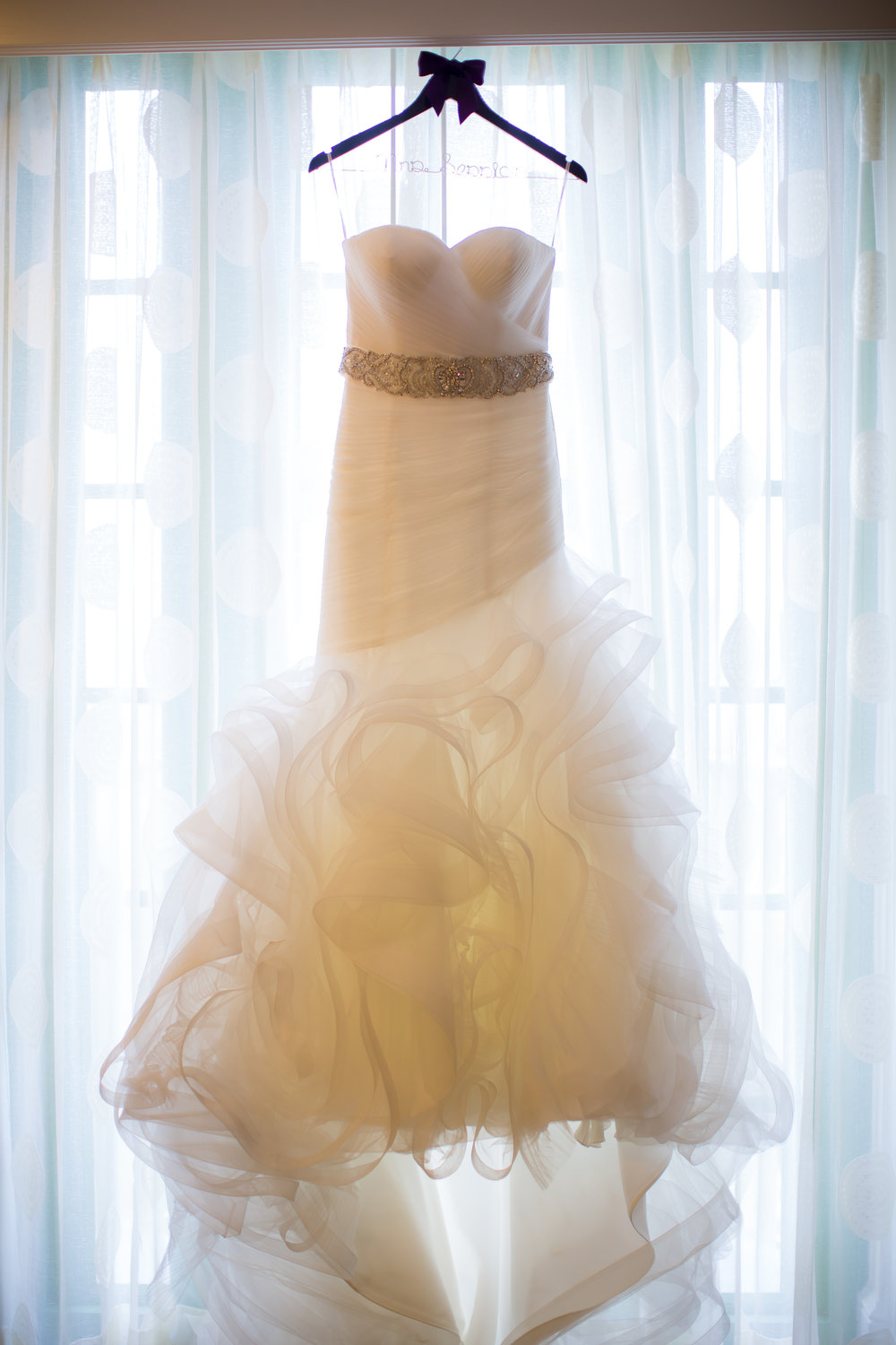The bride's gown featured layers of soft tulle